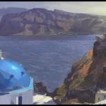 Santorini Oia, Greece, plein air painting by Patrick Faulwetter