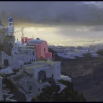Santorini Stormy Dawn, Greece, plein air painting by Patrick Faulwetter