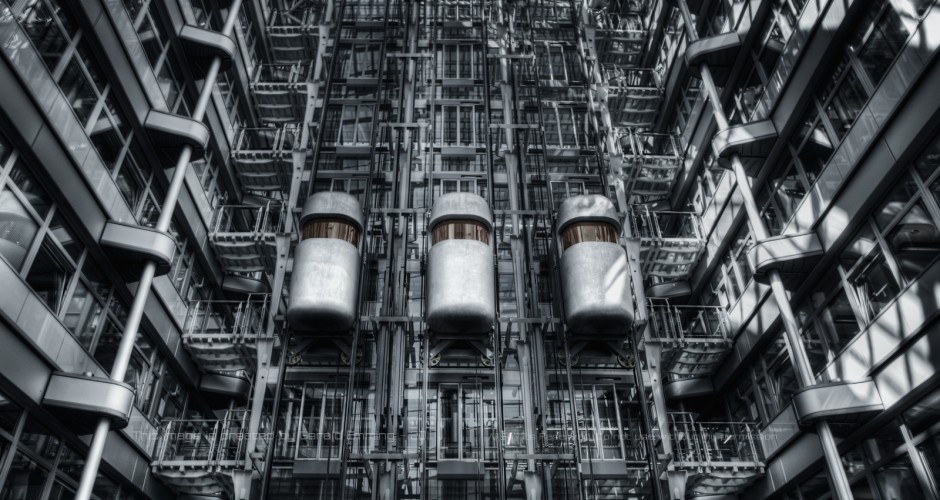 Futuristic lifts in Ludwig Erhard Haus - Berlin