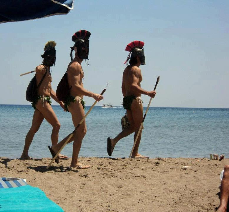 Ancient Spartans in the greek island of Rhodes parody