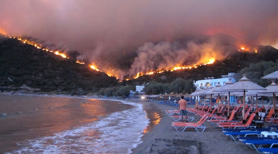 Forest fire at Chios island, Greece