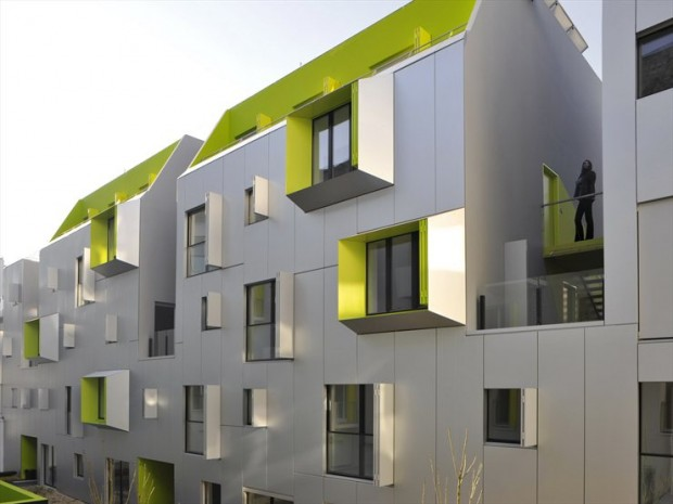 Colorful Social Housing in Marcadet street at Paris